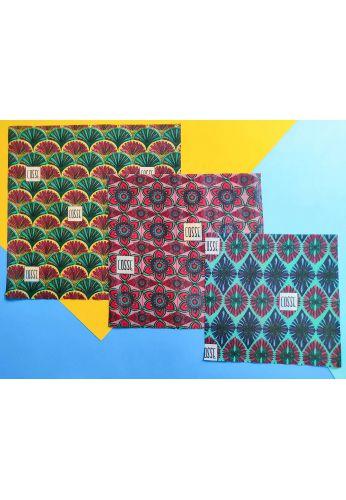 Emballage écologique réutilisable végétal - motifs fleurs - Lot de 3
