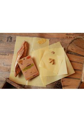 emballages écologique réutilisable à la cire d'abeille - lot de 3 (S,M et L)