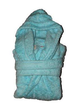 Peignoir en coton Bio enfant, coloris lagon, Taille 12 ans