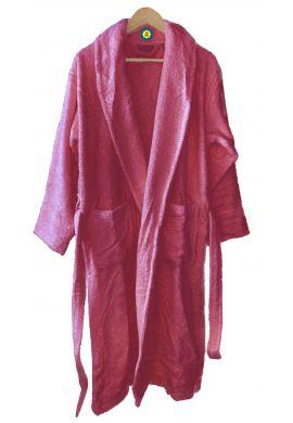 Peignoir en coton Bio, coloris framboise, Taille XL