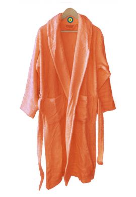 Peignoir en coton Bio, coloris corail, Taille XL