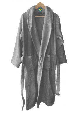 Peignoir en coton Bio, coloris gris, Taille XL