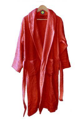 Peignoir en coton Bio, coloris paprika, Taille XL