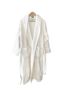 Peignoir en coton Bio, coloris blanc, Taille XL