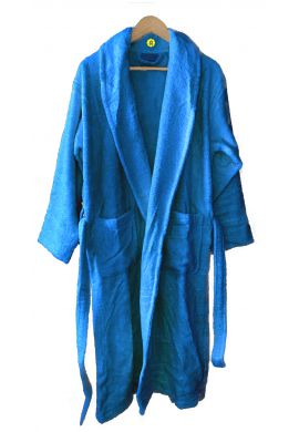 Peignoir en coton Bio, coloris bleu canard, Taille M