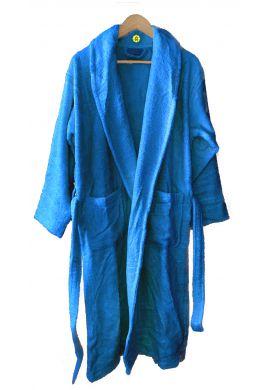 Peignoir en coton Bio, coloris bleu canard, Taille XL