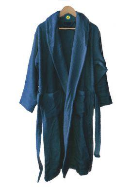 Peignoir en coton Bio, coloris bleu nuit, Taille M