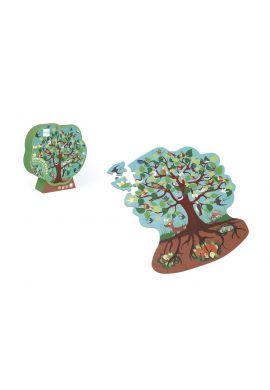 Contour puzzle arbres et oiseaux