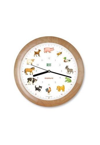 Horloge animaux de la ferme, modèle en cadre bois