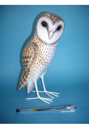 Statuette bois chouette effraie 25 cm achat nature - Image chouette effraie ...