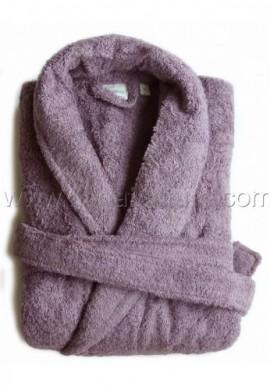 Peignoir en coton Bio, coloris prune, Taille M