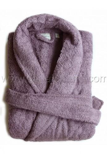 Peignoir en coton Bio, coloris prune, Taille XL